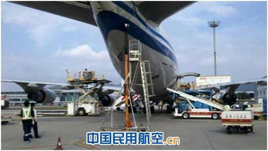 尾撑千斤顶帮助b747飞机保持平衡