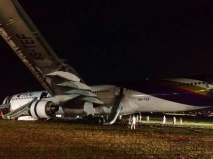 泰航从广州起飞客机降落时发生故障