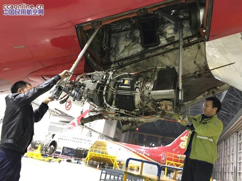 技术支援团队郭应益,翟日华等维修人员将b5360飞机拖进机库排除apu